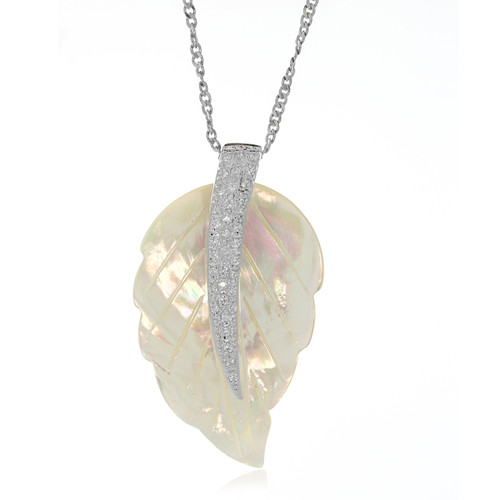 Shell Feather Cubic Zirconia Long Pendant Necklace