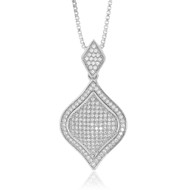 Sterling Silver 925 Pave Diamond Shape Pendant