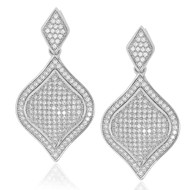Sterling Silver 925 Pave Diamond Shape Drop Earrings