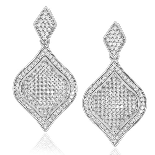 Sterling Silver 925 Pave Diamond Shape Drop Earrings