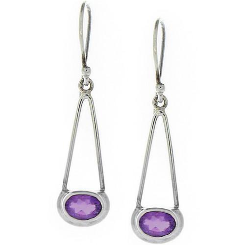 Oval Amethyst Silver .925 Drop Earrings