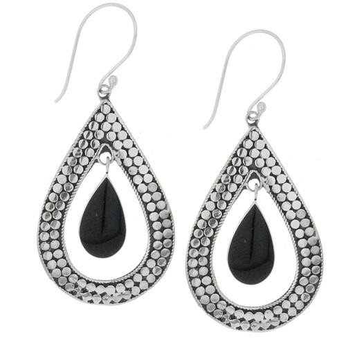 Bali Sterling Silver Black Onyx Dangle Earrings