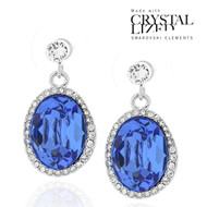 Swarovski Element Halo Drop Sapphire Earrings