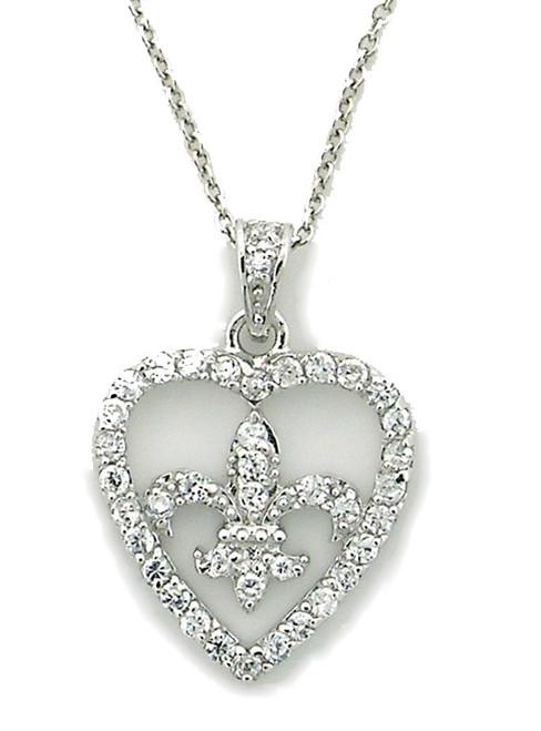Sterling Silver Fleur de lis Heart Pave Cz Necklace