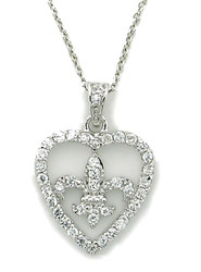 Sterling Silver Fleur de lis Heart Pave Cz Necklace