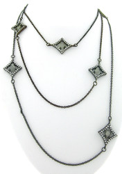 Diamond Shape Stations with Labradorite Long Necklace in Brass