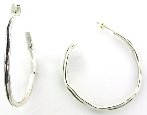 Sterling Silver Grooved Medium Hoop Earring