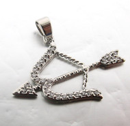Bow and Arrow Sterling Silver Pave Cz Pendant