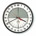 "24 Hour Slimline Wall  Clock - 9 1/4"" Diameter, Brown, NSN 6645-01-342-5313"