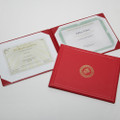 Award Certificate Binder - Gold USMC Seal, Red, NSN 7510-01-056-1927