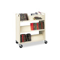 Double-Sided Slant Shelf Steel Book Cart, Six Shelves, 37w x 18d x 42h, Putty