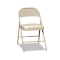 Steel Folding Chairs with Padded Seat, Light Blueige, Four/carton