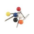 Round Head Map Tacks, 3/16 Diameter Head, 3/8 Shank, Assorted Colors, 100/box