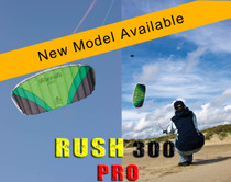 HQ Rush III 300 PRO Trainer Kite in action and close up of kite profile while flying. THIS COULD BE YOU FLYING THIS!