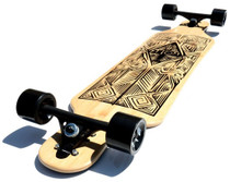 "Atom 40"" Bamboo Drop-Through Longboard l Tiki l Bottom"