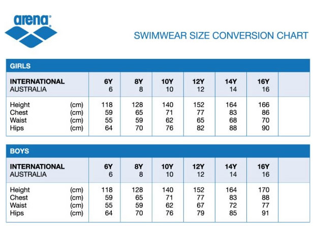 Size Guides - Rival, Adrenalin, Arena, Blueseventy, Turbo