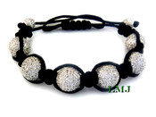 White Lab Made Diamond Disco Ball Bead Bracelet - Micro-Pave Setting  (Clear-Coated)