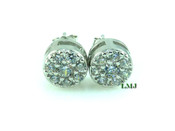"""925 Silver """"White Cluster"""" Micro-Pave Lab Made Diamond Earrings - 8mm"""