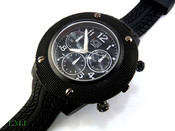 "All Black ""All Purpose"" Watch with Tire Tread pattern band (Clear-Coated Bezel)"