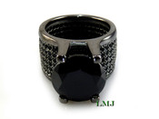 "All Black - 925 Silver ""360 Floating Solitaire"" Lab Made Diamond Ring EXCLUSIVE! (Clear-coated)"