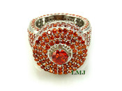 "Burnt Orange on White - 925 Silver Fully Loaded Lab Made Diamond ""360 King Ring"" EXCLUSIVE! (Clear-coated)"