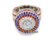 "Purple/Burnt Orange/White - 925 Silver Fully Loaded Lab Made Diamond ""360 King Ring"" EXCLUSIVE! (Clear-coated)"