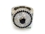 "Black and White - 925 Silver Fully Loaded Lab Made Diamond ""360 King Ring"" EXCLUSIVE! (Clear-coated)"