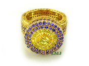 "Purple and Yellow - Gold 925 Silver ""Fully Loaded 360 King Ring"" EXCLUSIVE! (Clear-coated)"