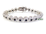 "1 Row Black and White Lab Made Diamond 8"" 3D Cluster Bracelet (Clear-Coated)"
