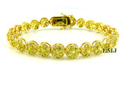 "1 Row Yellow Lab Made Diamond 8"" 3D Cluster Bracelet (Clear-Coated)"