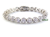 "1 Row White Lab Made Diamond 8"" 3D Cluster Bracelet (Clear-Coated)"