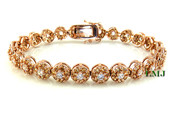 "1 Row Rose Champagne and White Lab Made Diamond 8"" 3D Cluster Bracelet (Clear-Coated)"