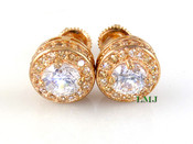 "Rose Champagne and White 925 Silver ""360 King Cluster"" Micro-Pave Earrings - 10mm(screw-backs)"