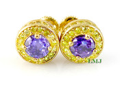 "Purple and Yellow - Gold 925 Silver ""360 King Cluster"" Micro-Pave Earrings - 10mm(screw-backs)"