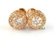 "Rose Champagne 925 Silver ""360 King Cluster"" Micro-Pave Earrings - 10mm(screw-backs)"