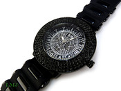 "All Black ""Royal"" 4 Row Bezel Watch with silicone band (Clear-Coated Bezel)"