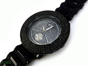 "All Black ""Removable 4 Row Bezel"" Watch with silicone band (Clear-Coated Bezel)"