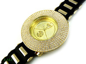 "White on Gold ""Removable 6 Row Bezel"" Watch with silicone band (Clear-Coated Bezel)"