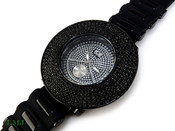 "All Black ""Removable 6 Row Bezel"" Watch with silicone band (Clear-Coated Bezel)"