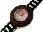 "Black and Red ""Removable 6 Row Bezel"" Watch with silicone band (Clear-Coated Bezel)"