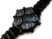 "All Black ""Five on It"" 5 Time Zone Watch with silicone band (Clear-Coated Case)"