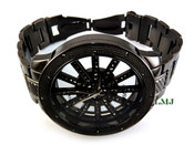 "Gunmetal Black ""See-Thru"" Big Face Watch with metal band  (Clear-Coated Bezel)"