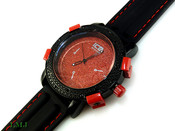 "Black and Red ""Executive"" Watch with silicone band (Clear-Coated Bezel)"