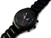"Black ""Fully Loaded Classic"" Watch with silicone band (Clear-Coated Bezel)"