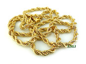 "30"" Gold Plated Rope Chain - 4mm (Clear-Coated)"