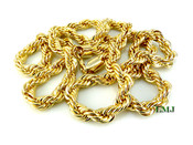 "30"" Gold Plated Rope Chain - 8mm (Clear-Coated)"