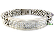 "High-Polished Stainless Steel Iced ""Versace Inspired"" Double-Franco Bracelet - 8.5"""