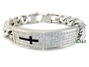 "High-Polished Stainless Steel Iced ""Cross I.D."" Cuban Bracelet - 8.5"""