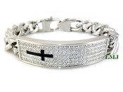 "High-Polished Stainless Steel Iced ""Cross I.D."" Cuban Bracelet - 8.5"""