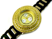 "Yellow ""Breitling inspired 3 Row Bezel"" Watch with silicone band (Clear-Coated Bezel)"